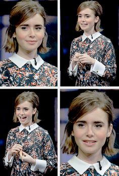 Lily Collins promoting 'Love Rosie' on Extra on January 14