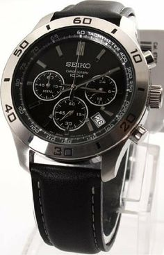 Seiko Black Dial Stainless Steel Mens Watch SSB049P2 Seiko. $119.00. Black Leather Strap. Chronograph Display. Water Resistance : 10 ATM / 100 meters / 330 feet. Round Stainless Steel Case