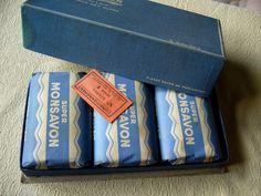 Ancienne boîte cartonnée 3 savons Super Monsavon Lait Lavande Alpes Parfumerie.