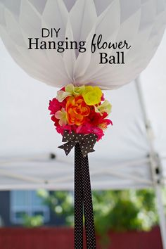DIY Hanging Flower Ball - adorable party decor for a #babyshower or #party!