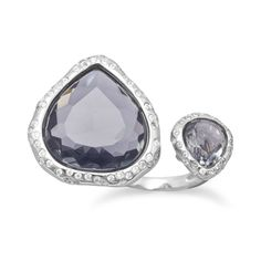 Rhodium Plated Double Pear Glass Ring