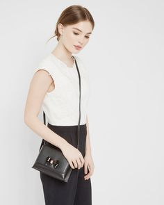 Bow detail leather crossbody bag - Black | Bags | Ted Baker FR