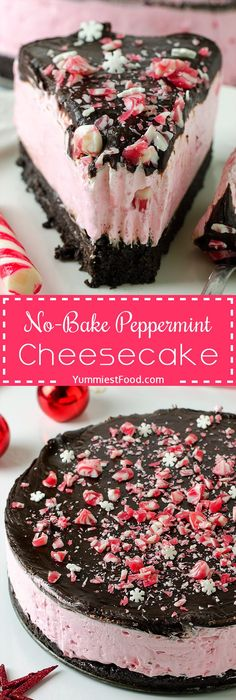Peppermint Cheesecake - Perfect and easy No-Bake Peppermint Cheesecake is the best way to enjoy the delicious holiday flavors in a stunning dessert recipe! Peppermint Cheesecake - Perfect and easy No-Bake Peppermint Cheesecake is the best. Desserts Nutella, Mini Desserts, Holiday Desserts, Holiday Baking, Just Desserts, Holiday Recipes, Delicious Desserts, Yummy Food, Healthy Desserts