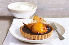Chocolate pear tarts with toffee nests http://www.taste.com.au/recipes/19499/chocolate+pear+tarts+with+toffee+nests