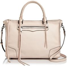 Rebecca Minkoff Regan Leather Satchel (€305) ❤ liked on Polyvore featuring bags, handbags, satchel purses, pink purse, satchel handbags, leather satchel and rebecca minkoff handbags