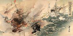 Sino-Japanese War scene by Ogata Gekkou.