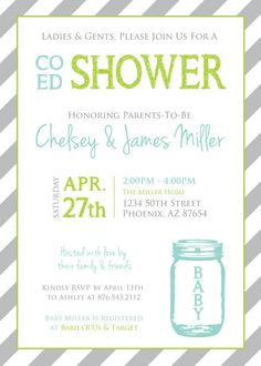 21 coed baby shower invitation wording examples shower co ed baby shower mason jar and stripes invitation aqualimegray filmwisefo Choice Image
