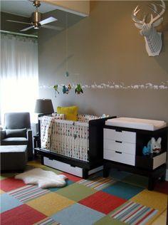 flor rug - like the colors Baby Boy Rooms, Baby Boy Nurseries, Baby Room, Nursery Room, Nursery Decor, Deer Nursery, Woodland Nursery, Bedroom, Living Room Carpet