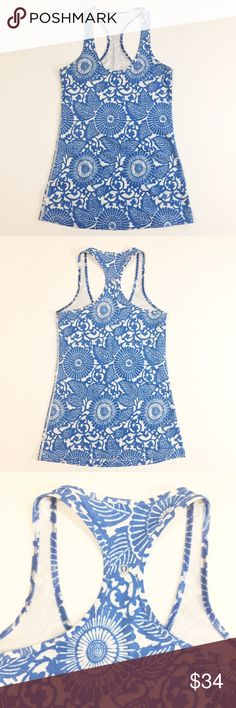"Lululemon Cool Racerback Tank Top Beachy Floral 6 Excellent used condition! Cool racerback tank top from lululemon in porcelain blue beachy floral. Size 6. Reflective logo on back strap. Tear-away tag has been removed. Measures about 14.25"" across chest, 27"" in length. No stains or holes. 🚫trades🚫 smoke free home lululemon athletica Tops Tank Tops"