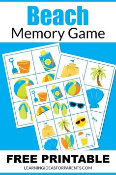 Beach Words, Memory Games For Kids, Printer Paper, Matching Games, Educational Activities, Book Lists, Free Games, Games To Play, Free Printables