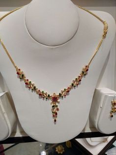 How To Choose The Perfect Pair Of Gold Diamond Earrings Ruby Necklace Designs, Simple Necklace Designs, Gold Necklace Simple, Gold Jewelry Simple, Gold Jewellery, Gold Ruby Necklace, Saree Jewellery, Ruby Jewelry, India Jewelry