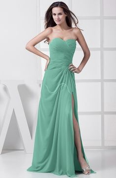 Mint Green Elegant Sleeveless Chiffon Floor Length Split-Front Bridesmaid Dresses - iFitDress.com