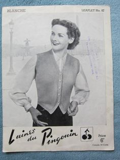 Vintage ladies knitting pattern Not a PDF by Men's Waistcoat, Vintage Knitting, I Am Happy, Etsy Store, Vintage Ladies, Knitting Patterns, Love You, Pdf, Handmade