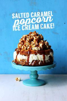 Salted Caramel Popcorn Ice Cream Cake