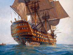 El HMS Victory, navío inglés de tres puentes, visto desde la popa. Navíos de línea del siglo XVIII