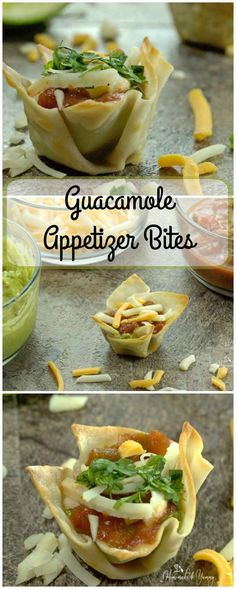 Guacamole Appetizer Bites are the perfect party food!! Guacamole, salsa and cheese in a wonton cup. Quick, easy and so delicious!! |homemadeandyummy.com