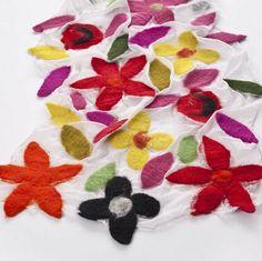 Silk chiffon scarf with bright merino wool flowers from theredsari.com