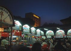 Stalls upon stalls of authentic Malaysian hawker food - Gurney Drive in Penang.