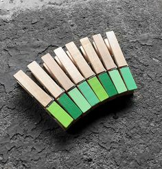 Sale  8 Medium Clothespins. Green painted tip by GingersnapPress