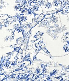 Covington M Musee Toile Blue Fabric : Image 2