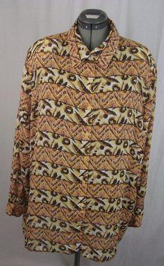 Women's Shirt Plus Size 22 Multi-Color Southwestern Design Polyester #Iesource #ButtonDownShirt