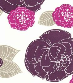 54'' Home Decor Value Print Fabric- Stamped Floral Purple @ Joann