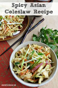 This spicy Asian coleslaw recipe is really delicious and easy to make. Serve it as a side dish or toss in some chicken or shrimp to make a complete meal!