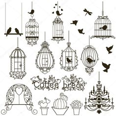 Vintage birds and birdcages collection. Clipart… Vintage Birds And Birdcages Collection. Clipart… Royalty Free Cliparts, Vectors, And Stock Illustration. Doodle Art, Bird Doodle, Doodle Frames, Bird Drawings, Doodle Drawings, Vintage Birds, Vintage Art, Clipart Vintage, Bird Clipart