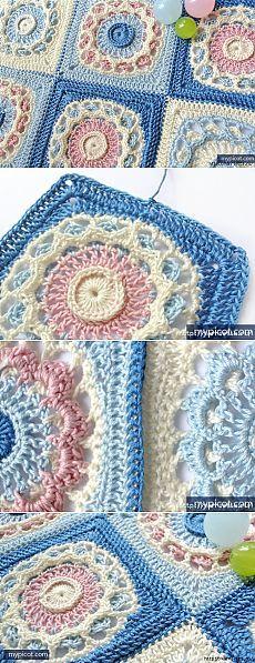 Красивый мотив крючком для вязания пледа или покрывала