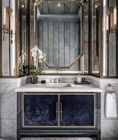 68 New Ideas Art Deco Interior Bathroom Inspiration Glamorous Bathroom, Beautiful Bathrooms, Modern Bathroom, Small Bathroom, Luxury Bathrooms, Master Bathrooms, Dream Bathrooms, Farmhouse Bathrooms, Bathroom Marble