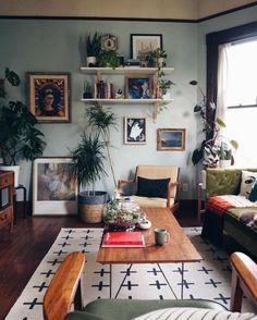 home decor - Beautiful Rustic Bohemian Living Room Design Ideas Living Room Paint, Home Living Room, Apartment Living, Living Room Designs, Indie Living Room, Living Room With Plants, Cozy Eclectic Living Room, Indie Room, Cozy Living