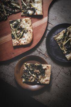Caramelized Ramp & Ribboned Asparagus Pizza by Carey Nershi. Asparagus Pizza, Blueberry Bushes, Balsamic Reduction, Thin Crust, Greek Yogurt, Food Photo, Food Inspiration, Cravings, Caramel