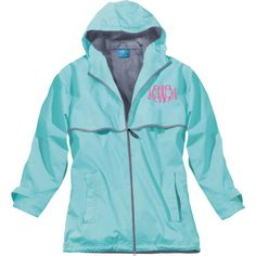 Monogrammed Charles River Rain Jacket ($48) ❤ liked on Polyvore featuring aqua, outerwear and women's clothing