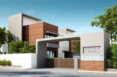 Aarav Housing Project (1) House Outside Design, House Gate Design, Bungalow House Design, House Front Design, Modern Villa Design, Unique House Design, Modern Bungalow Exterior, Bungalow Interiors, Duplex Design