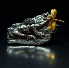 Lunch - silver frog nature dragonfly gold pmc chasing repusse granulation enamel copper brooch hungry appetite eat food capture hunter on Etsy, $6,500.00