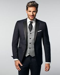 Blue Wedding Tuxedos + Suits Same suit – Michael with grey vest & black tie, groomsmen with navy tie Men's Tuxedo Wedding, Black Suit Wedding, Wedding Men, Wedding Suits, Wedding Tuxedos, Blue Wedding, Wedding Flowers, Groomsmen Grey, Groomsmen Outfits