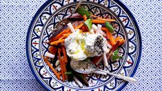 Carrot salad with labneh | The other star in this Moroccan salad recipe, apart from the carrot, is kohlrabi, which is a member of the cabbage family, with a similar flavour to turnip. It's a deliciously fresh dish, with the creaminess of the labne taking it to a whole other dimension.