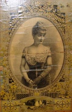 Artwork Of Pretty Lady In Lid Of Antique Trunk