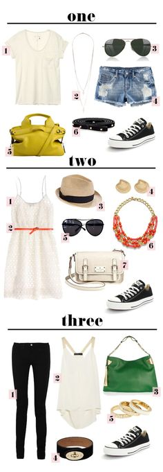 3 summer outfits with converse shops beach, hols date, night time Summer Outfits, Casual Outfits, Fashion Outfits, Womens Fashion, Fashion Tips, Fashion Trends, All Star, Black And White Converse, Black White
