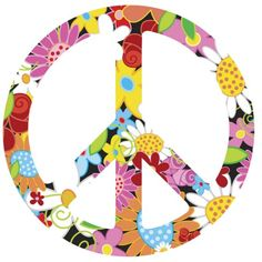 FUNKY FLORAL Peace Sign Symbol Vinyl Wall Art Decal,via Etsy.