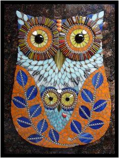 Owl made from Mosaic Tiles art Owl Mosaic, Mosaic Birds, Mosaic Art, Mosaic Glass, Glass Art, Stained Glass, Mosaic Crafts, Mosaic Projects, Mosaic Designs