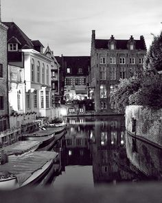 Bruges Canal in Black and White by Phyllis Taylor on Fine Art America.