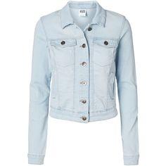 Vero Moda Long Sleeved Denim Jacket ($35) ❤ liked on Polyvore featuring outerwear, jackets, coats, casacos, light blue denim, pocket jacket, light blue denim jacket, denim jacket, long sleeve denim jacket and jean jacket