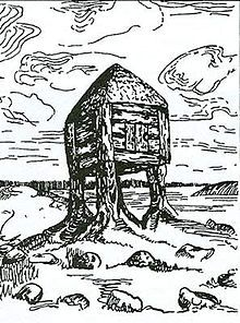 Origins of Baba Yaga's Hut On Chicken Legs: Nicholas Roerich, Izba smerti (Hut of Death, sketch, 1905), an artistic expression of burial traditions of the ancient Slavs. :::  There are indications that ancient Slavs had a funeral tradition of cremation in huts of this type. In 1948, Russian archaeologists Yefimenko and Tretyakov discovered similar small huts with traces of corpse cremation and circular fences around them; this may be a connection to the Baba Yaga myth.