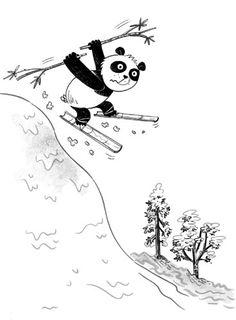 Sam Hearn Illustration - sam, hearn, sam hearn, digital, pen, ink, pen and ink, commercial, fiction, black and white, pandas, animals, winter, snow, skiing