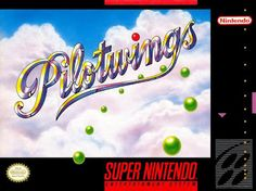 """Box art for """"Pilotwings"""" from Nintendo, a """"lite"""" flight simulator that was one of the launch titles for the Super Nintendo Entertainment System in 1991."""