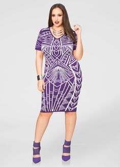 96cee3944cd5b Geo Print Bodycon Dress - Ashley Stewart Fashionable Plus Size Clothing