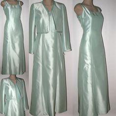 TALBOTS Mother-of-the Bride Long Silk Dress & Bolero Jacket 4/6 NWT Light Aqua