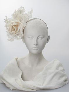 Silk and lace headdress | Label: Philip Treacy | Ivory silk headpiece with stiffened lace and small crystals on wired hairband. Secured by a metal comb | Any season. Free size | Made in England