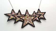 Items similar to Star Rainbow Glitter Necklace on Etsy Star Necklace, Love Is All, Sparkle, Glitter, Rainbow, Free Uk, Stars, Fabric, Silver